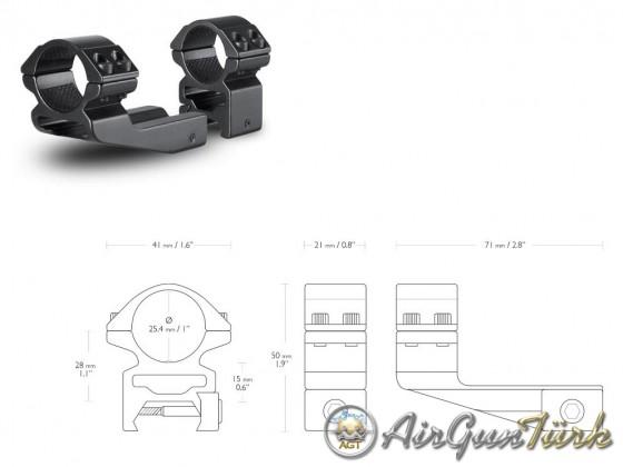 Hawke Reach Forward (22125)Yüksek Dürbün Ayağı 25.4/22mm