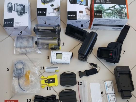 Sony HDR AS100-V Wi-Fi ve GPS Özellikli Action Cam ve aksesuarları
